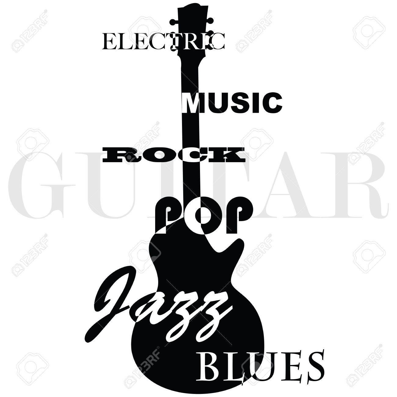 Concept illustration showing the outline of an electric guitar with the music genres written over it Stock Vector - 10872191