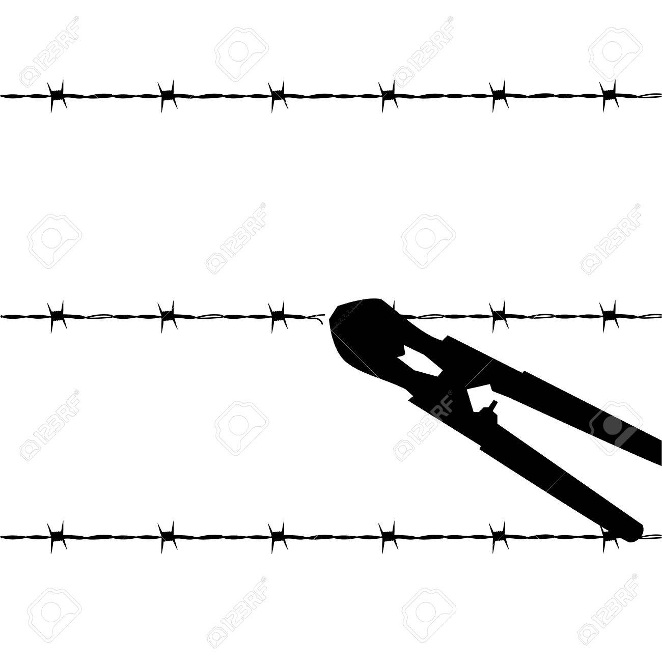 Cartoon Outline Illustration Showing A Barbed Wire Fence Being ...