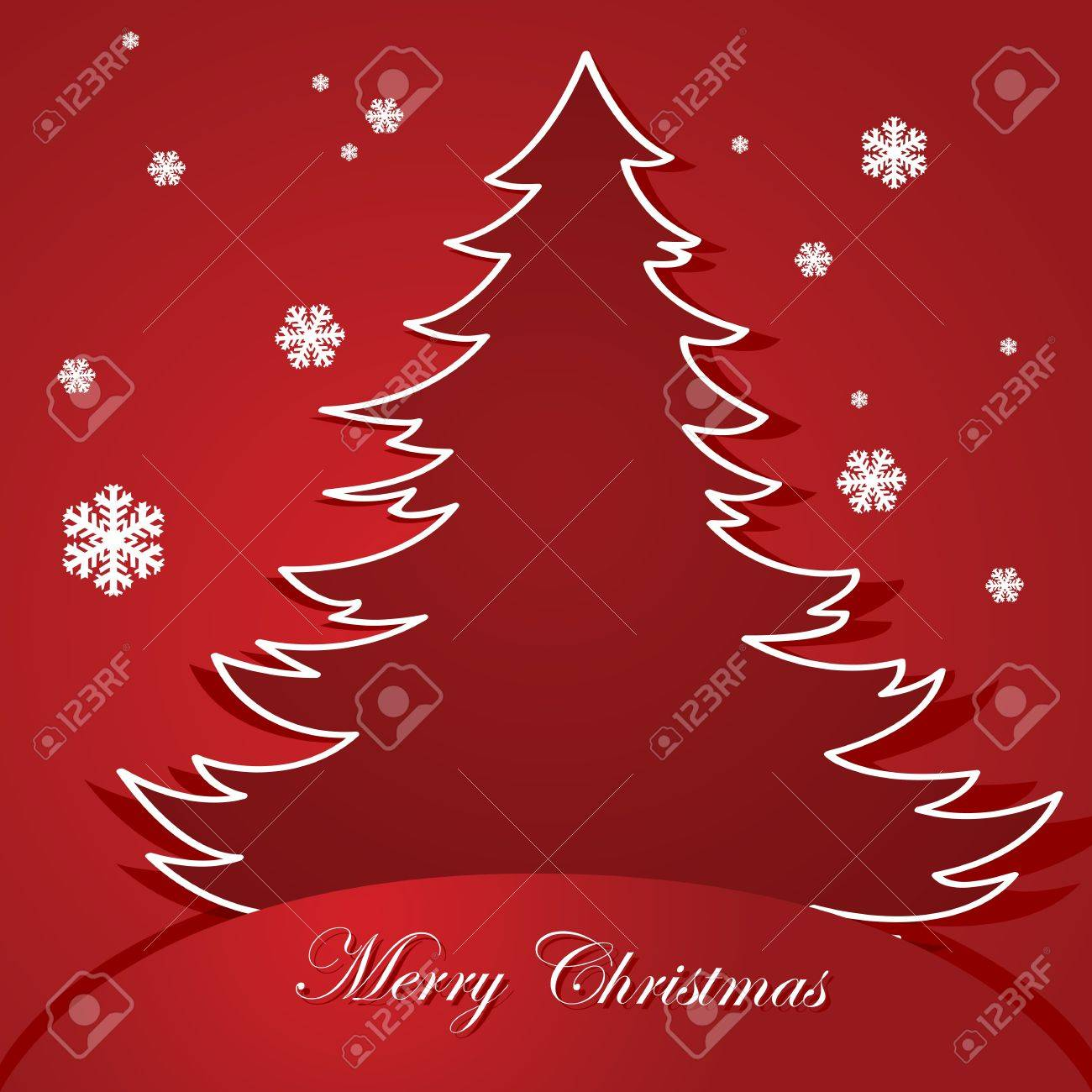 Christmas themed illustration showing a red background and a cartoon tree tucked inside a pocket in the middle of the page Stock Vector - 16383769