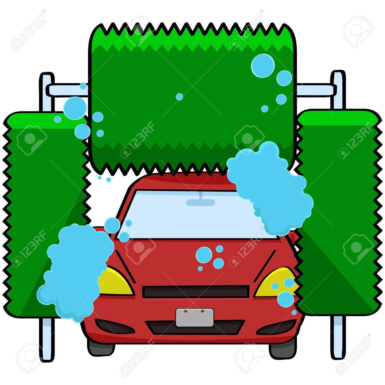 cartoon car wash cartoon illustration of a car inside a car wash