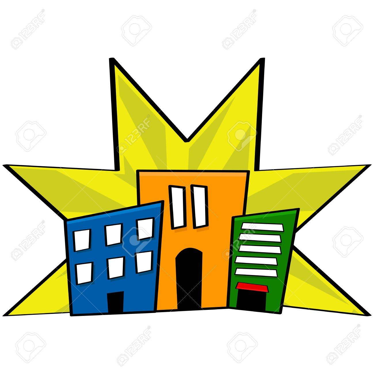 Cartoon illustration showing stylized buildings from a downtown core in different colors Stock Vector - 16616703