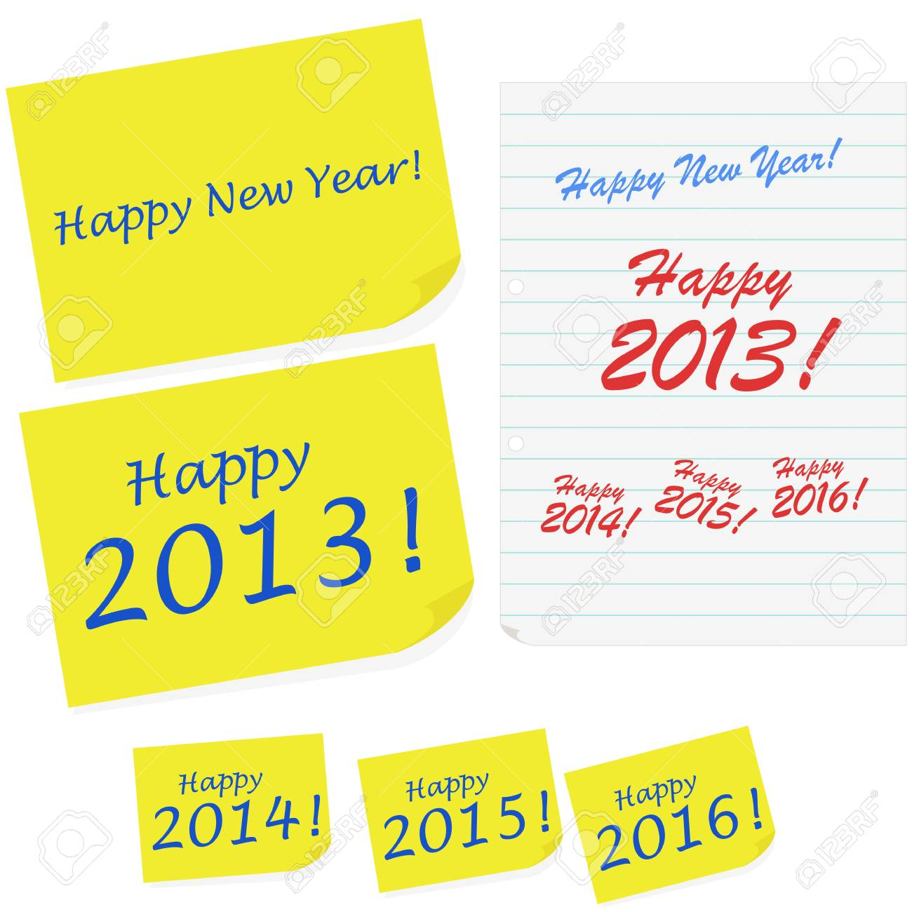Illustration showing Happy New Year messages written in sticky notes and notebook paper Stock Vector - 16616707