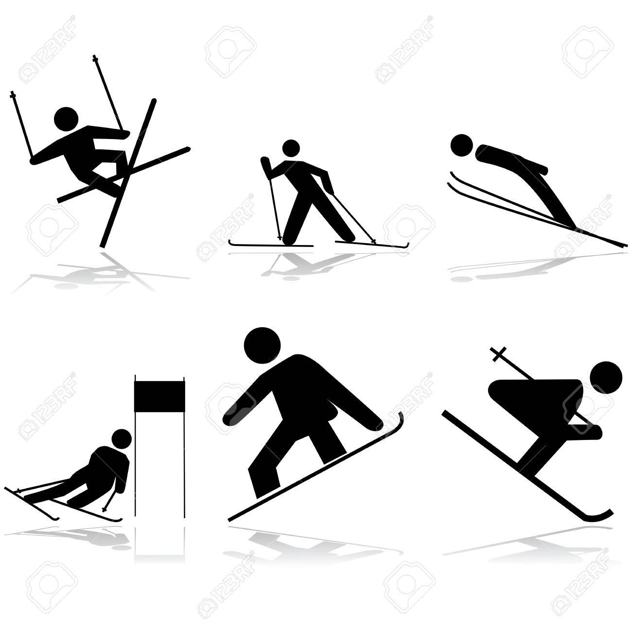 Icon illustrations showing different winter sports performed on snow surfaces Stock Vector - 16731250