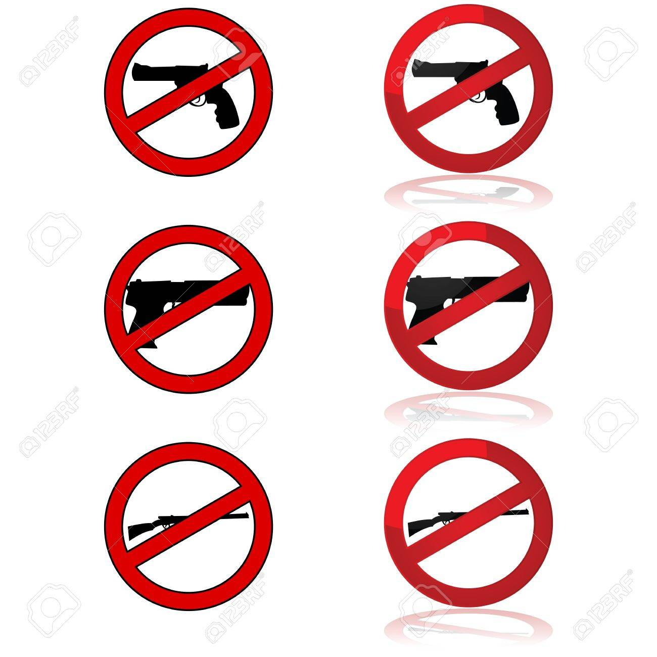 Icons showing different gun shapes and the forbidden sign Stock Vector - 16878858