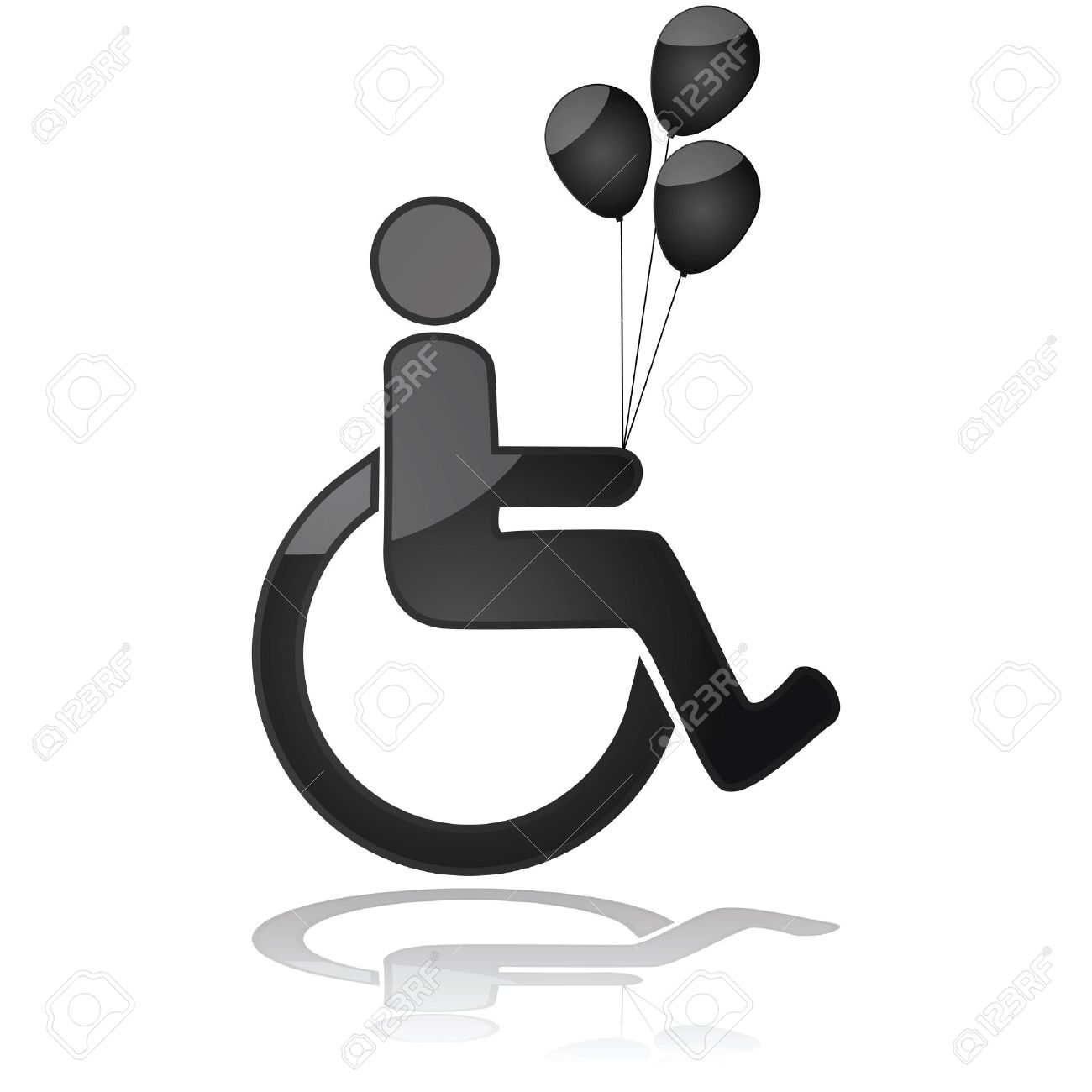 Icon illustration showing a child in a wheelchair holding balloons Stock Vector - 16936788