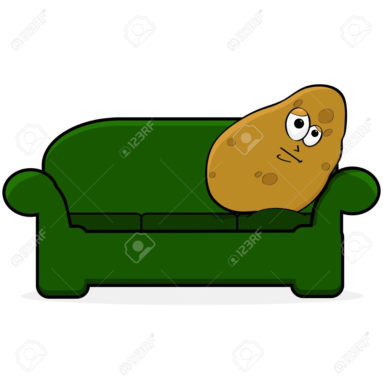 cartoon illustration showing a potato looking bored and lying