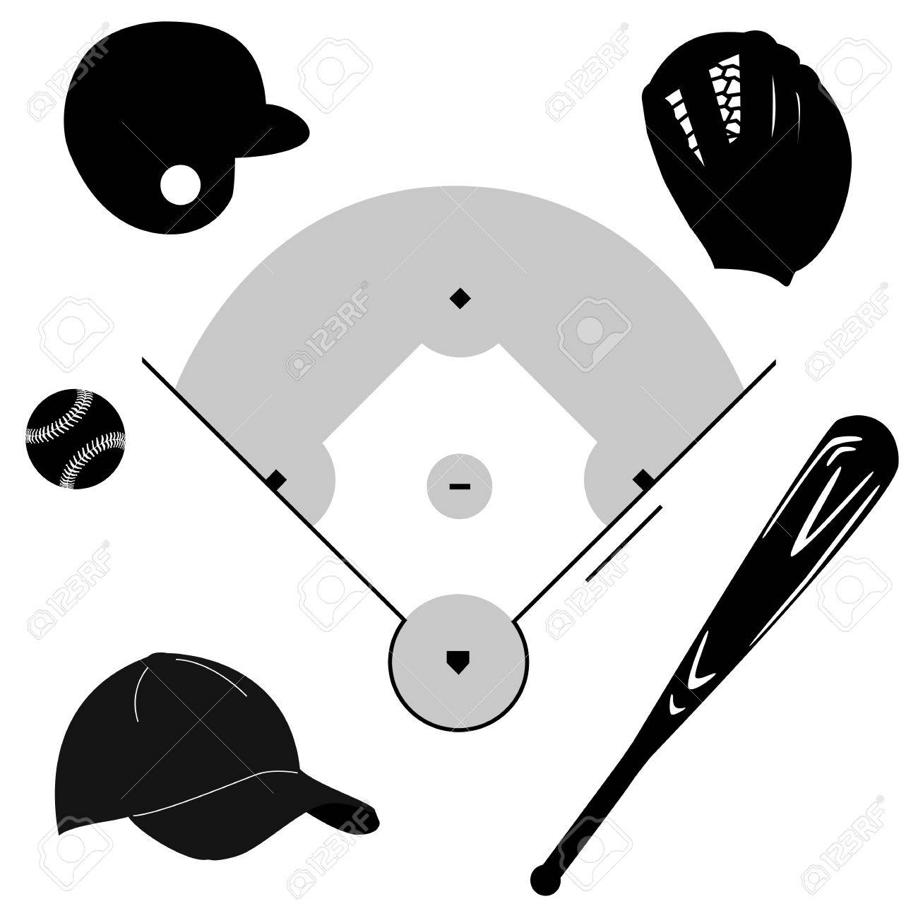 Icon set showing different baseball elements around a baseball diamond Stock Vector - 17810138