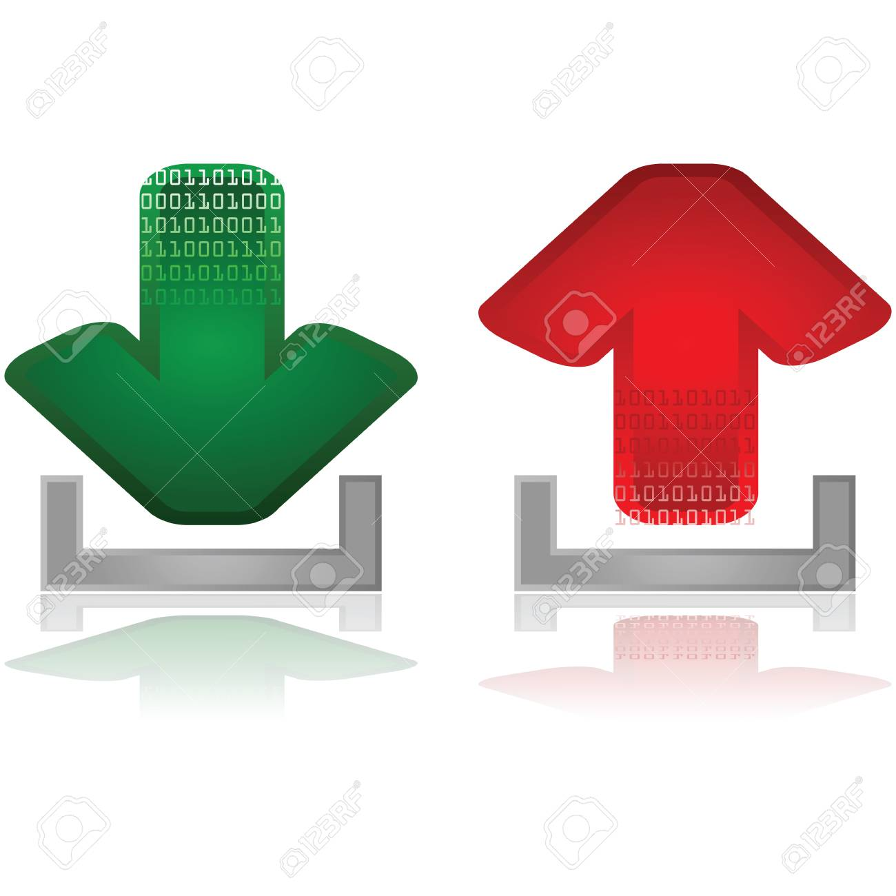 Set with two arrows, one green for downloads and one red for uploads Stock Vector - 17810132
