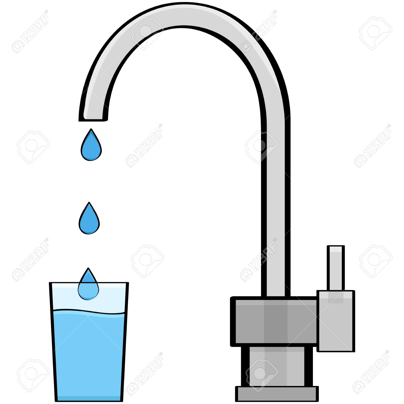 Cartoon Illustration Showing Water Coming Out Of A Tap And Into ...