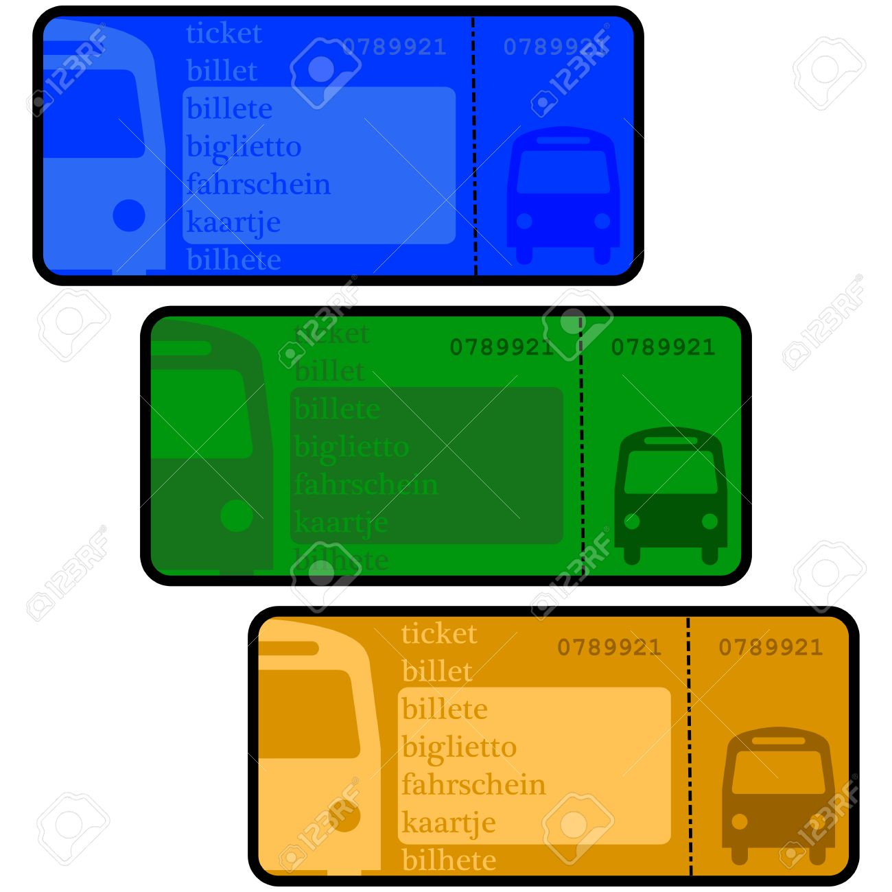 Cartoon Illustration Showing Bus Ticket Templates In Different Colors Stock  Vector   25637199  Bus Ticket Template