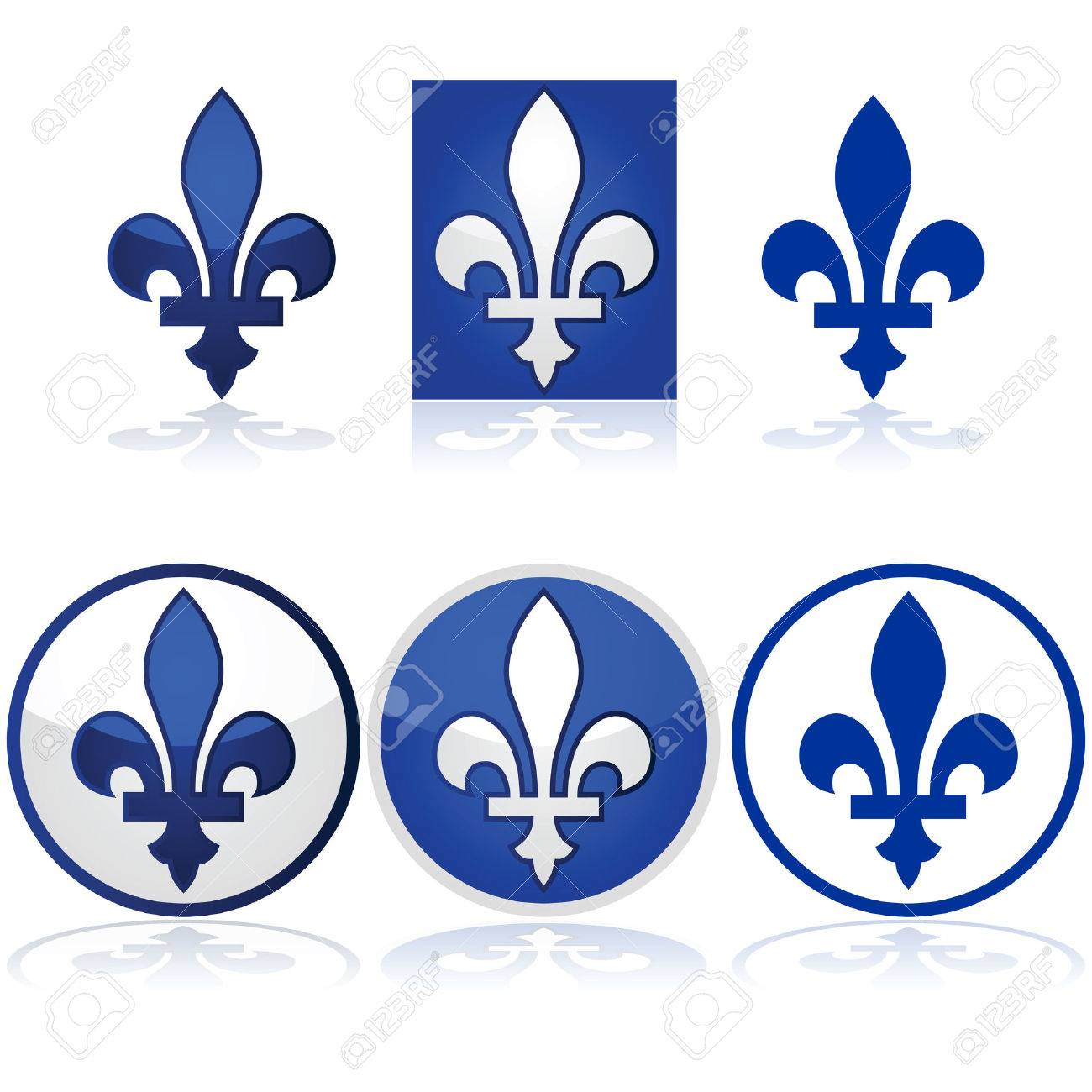 Glossy Illustration Showing The Quebec Fleur De Lys In Blue And