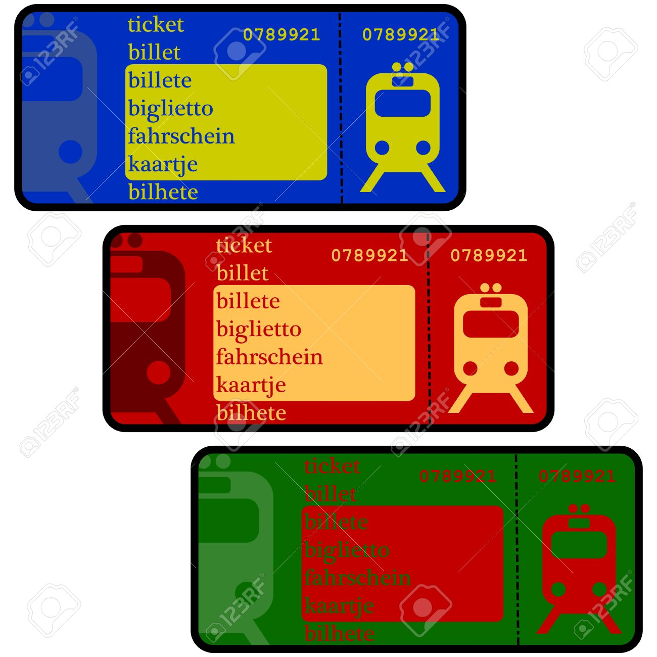 cartoon illustration showing train ticket templates in different