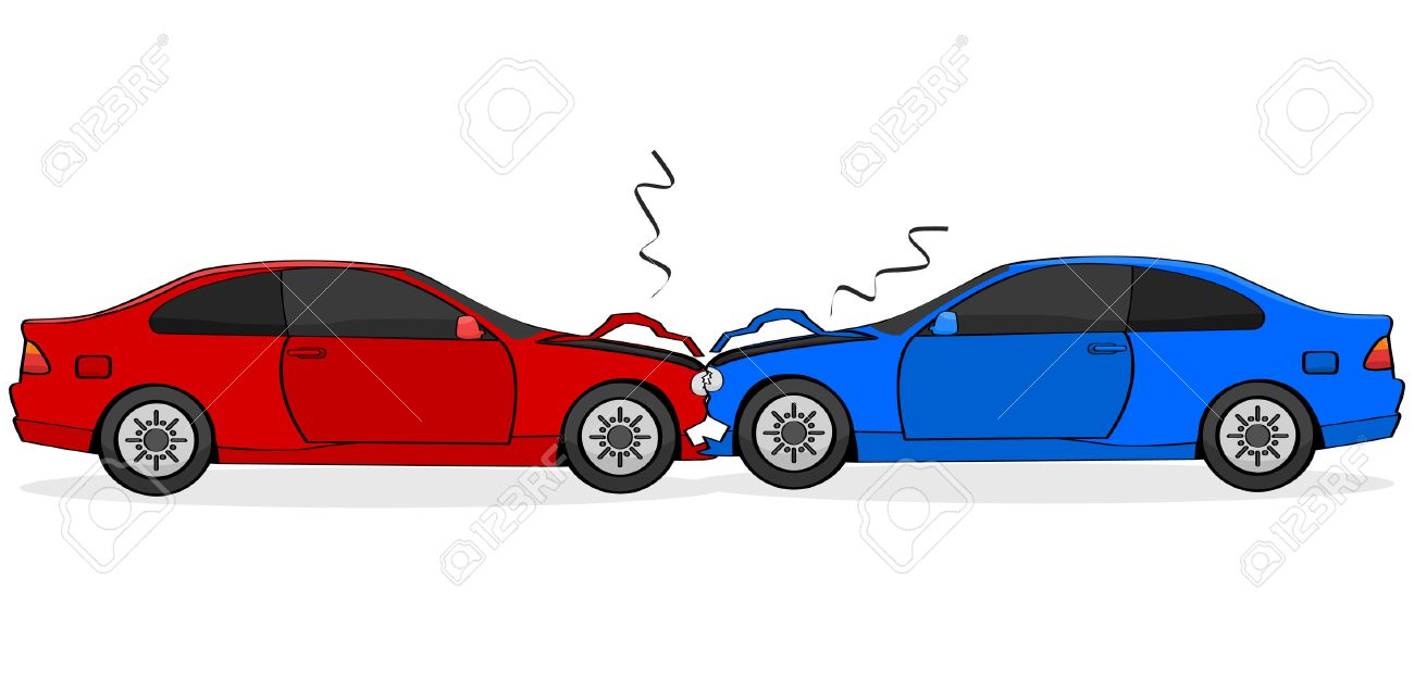 Cartoon Illustration Showing Two Cars After A Head-on Collision ...