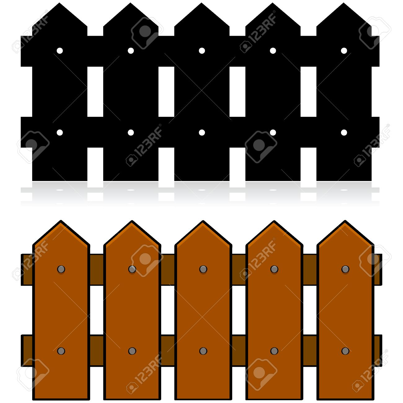 Cartoon Illustration Of A Picket Fence In Color And In Black - Cartoon fence clip art