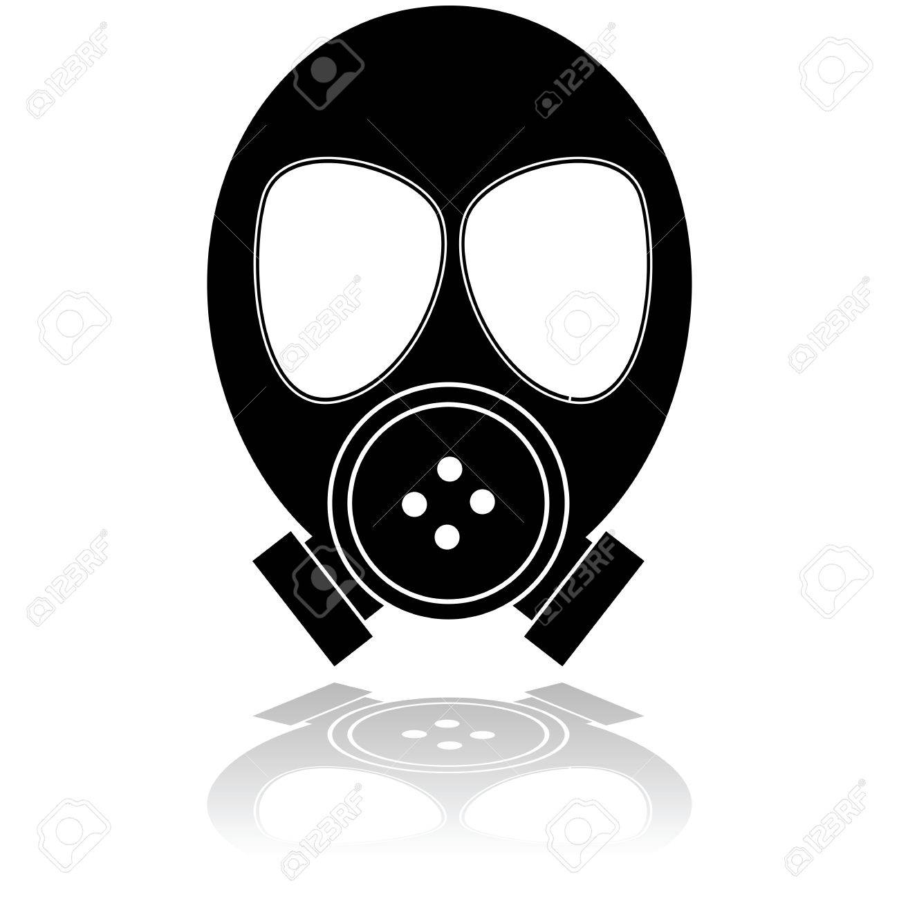 Icon illustration showing a mask used for protection against poisonous gas Stock Vector - 26159871