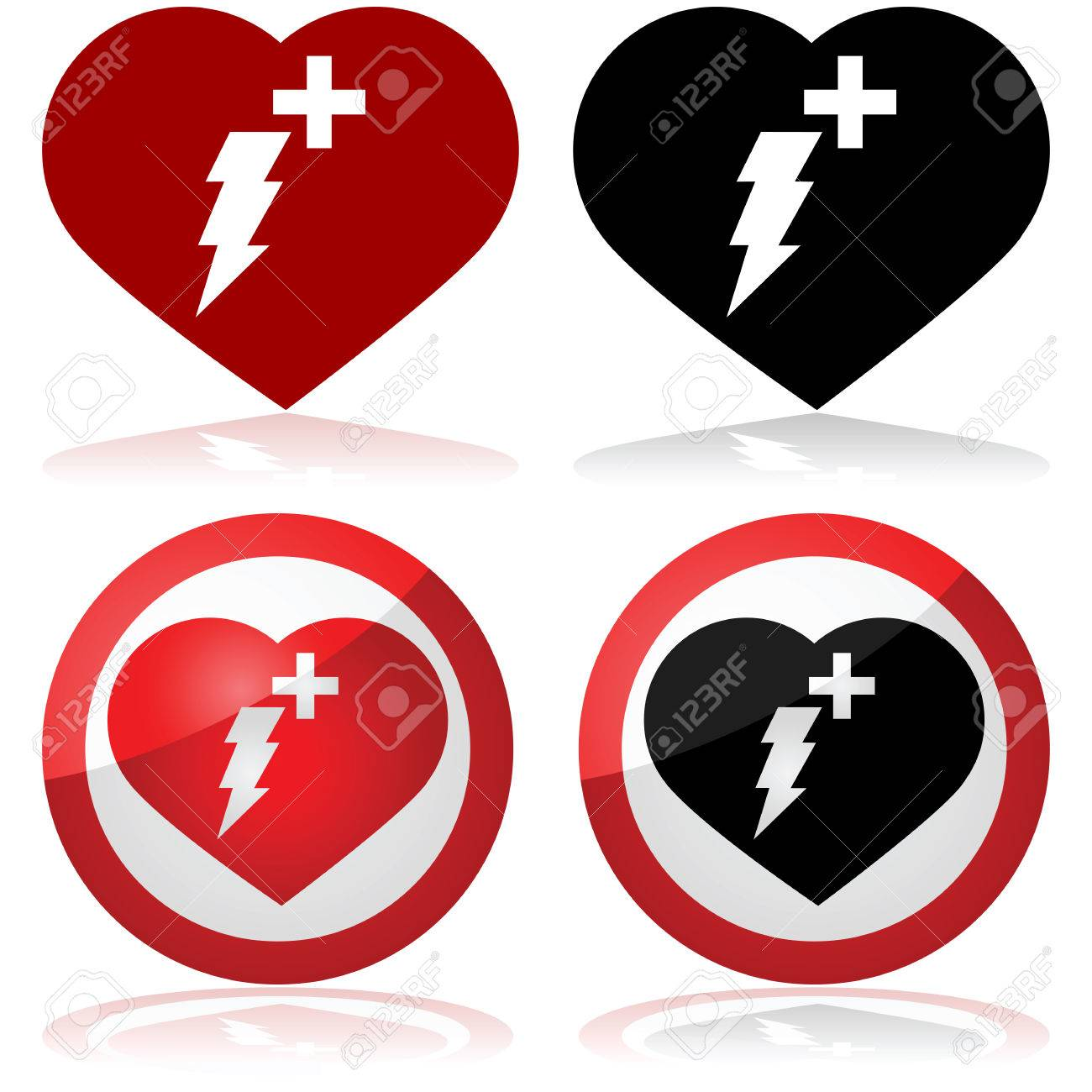 defibrillator icon set showing a heart with a lightning and a