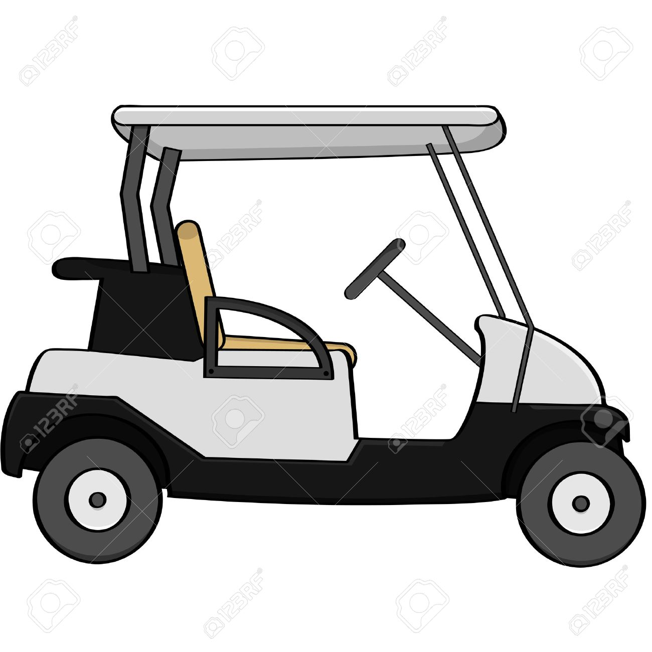 cartoon illustration of an empty golf cart royalty free cliparts rh 123rf com golf cart clipart pink golf cart clipart