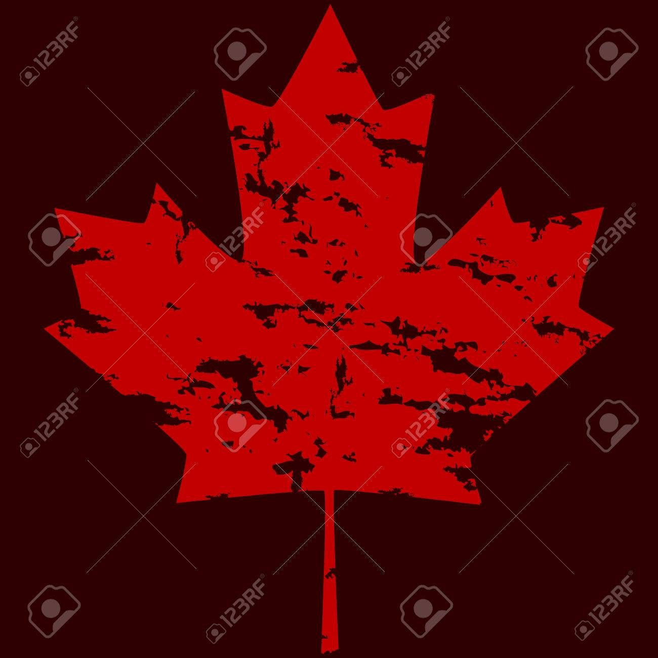 grunge version of a canadian maple leaf over a dark red