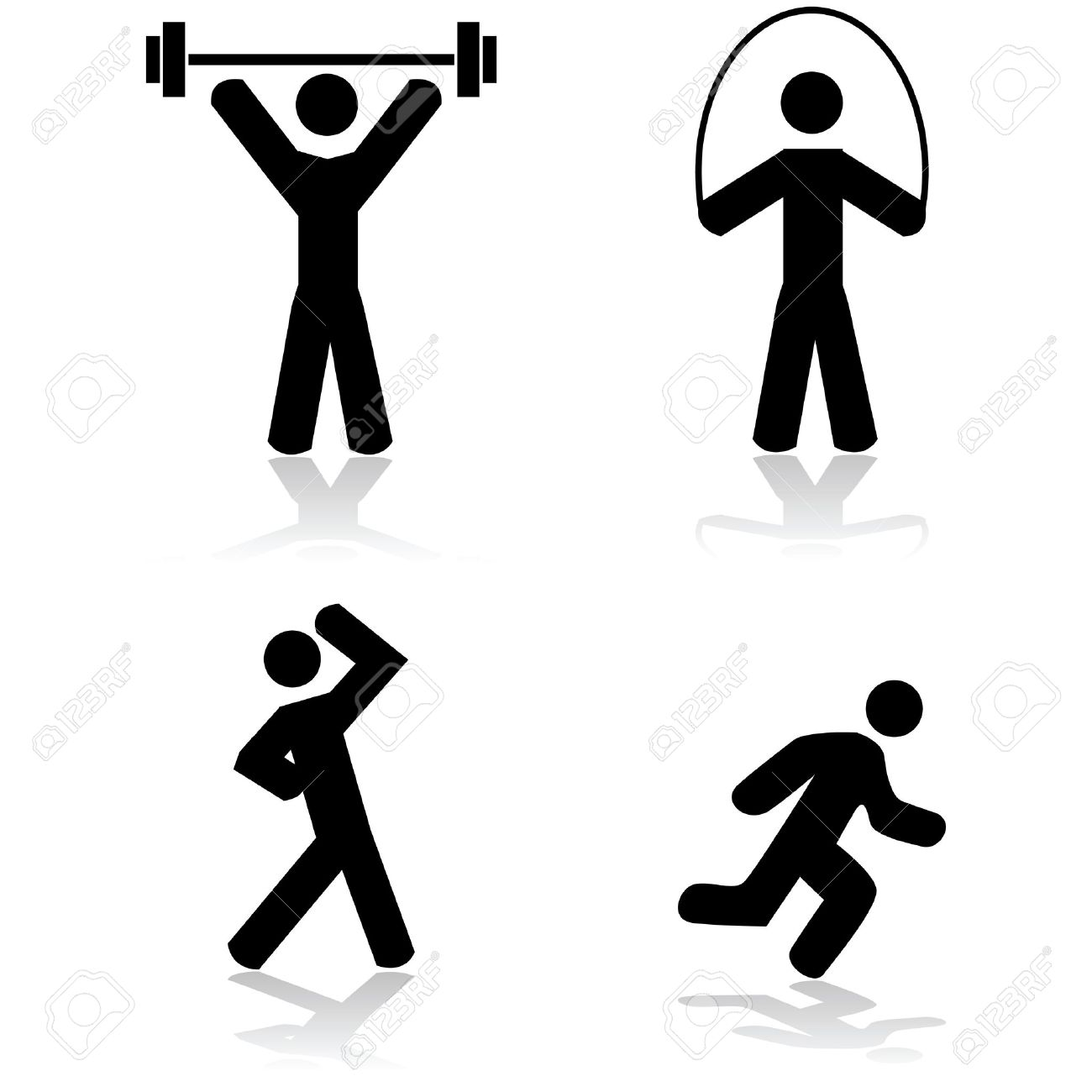 Icon set showing a person doing different types of exercise - 26544656