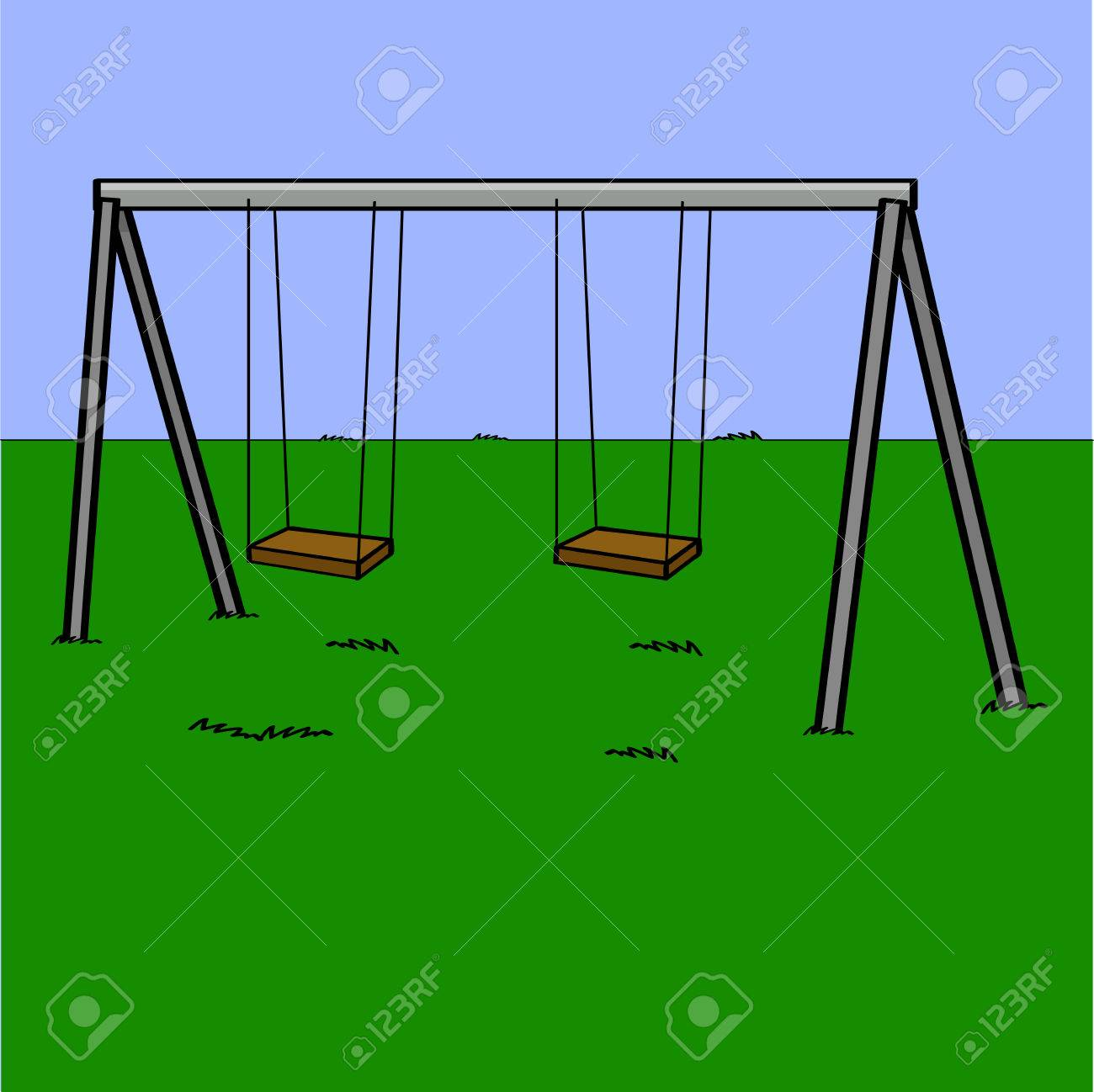 Cartoon Illustration Showing An Abandoned Playground Swing Set Royalty Free Cliparts Vectors And Stock Illustration Image 26779666