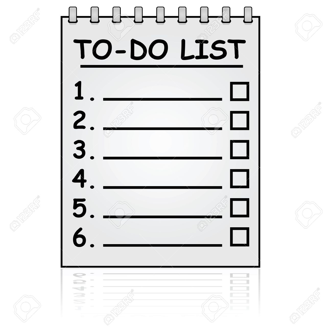 cartoon illustration showing a paper pad with a to do list royalty