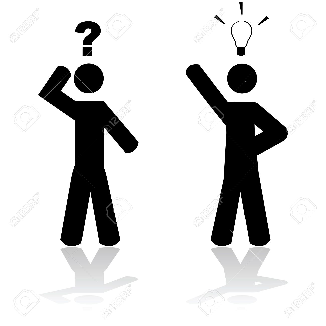 Concept illustration showing a man in doubt and another one having an idea Stock Vector - 27324418