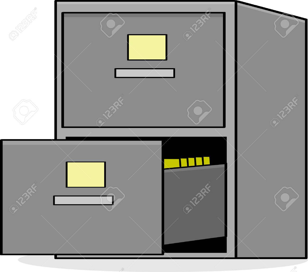 Cartoon Illustration Showing A Metal File Cabinet With The Bottom Drawer  Open Stock Vector   27569237