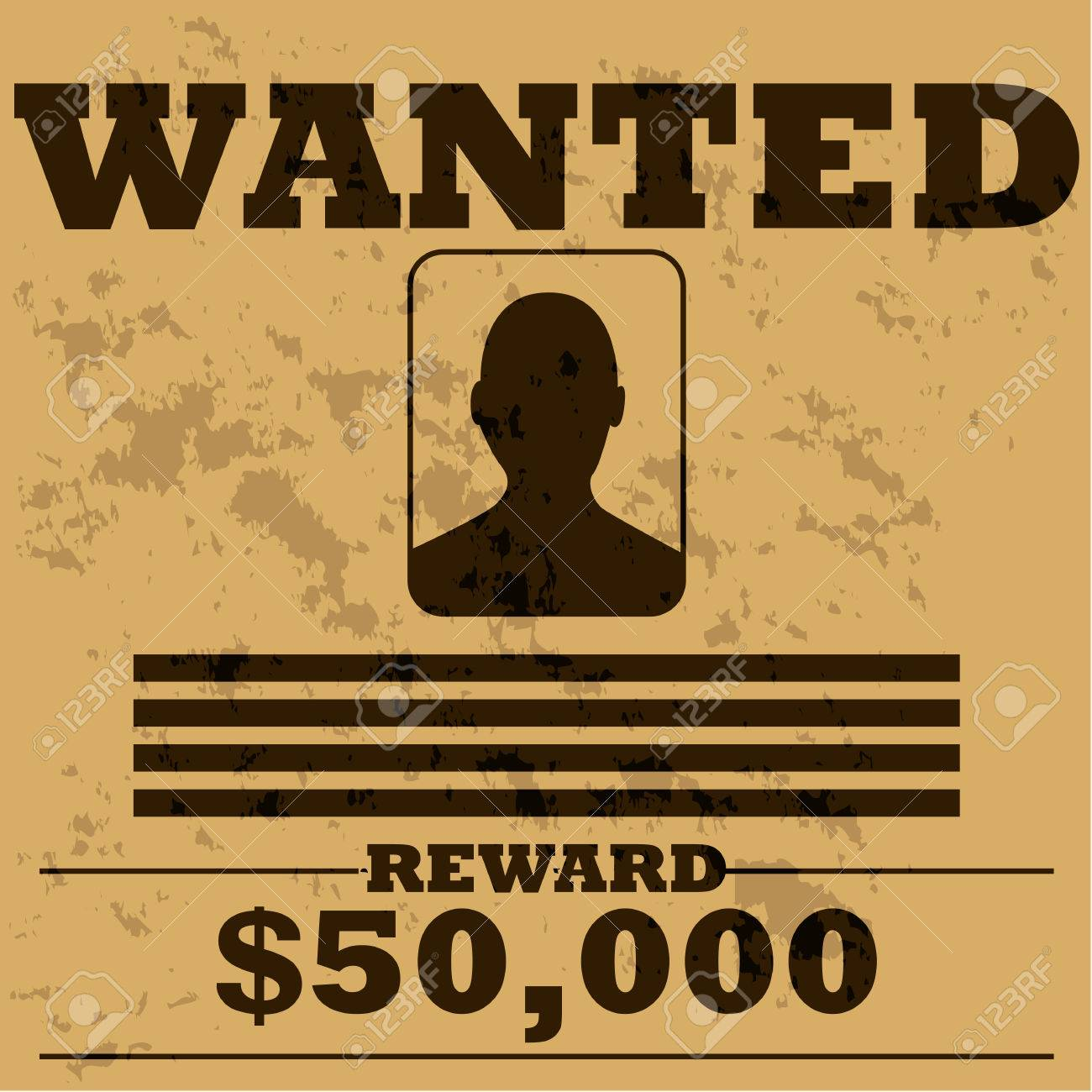Concept Illustration Of A Template Poster For A Wanted Man In Old Western  Style Stock Vector