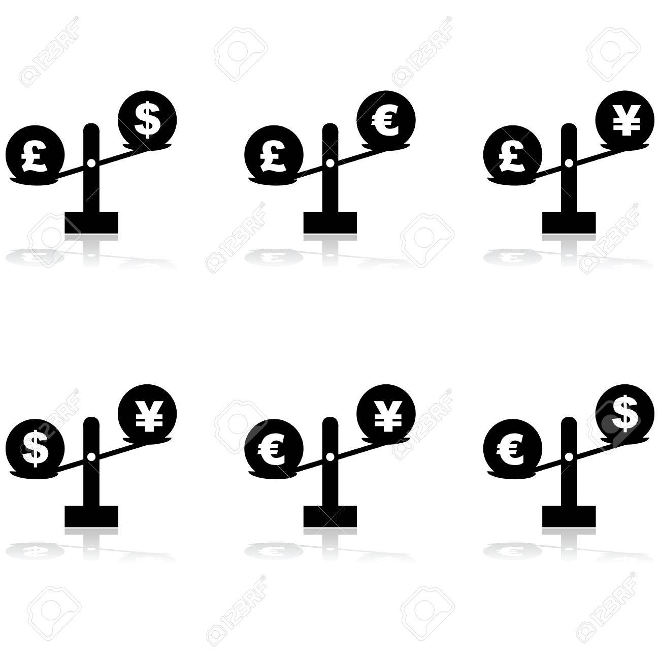 Icon set showing different currency symbols placed on scales icon set showing different currency symbols placed on scales stock vector 28893868 biocorpaavc Image collections