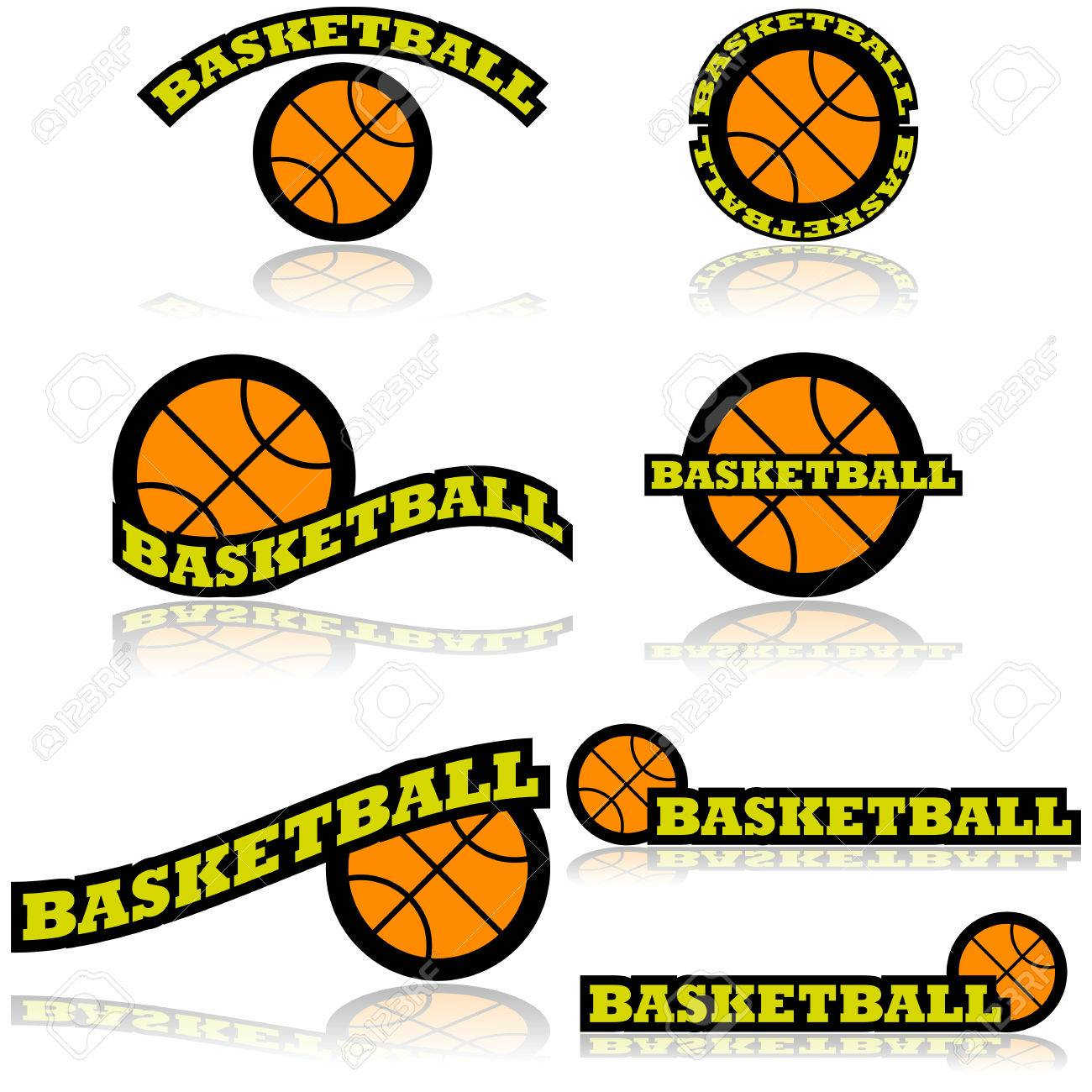 icon set showing a basketball combined with different