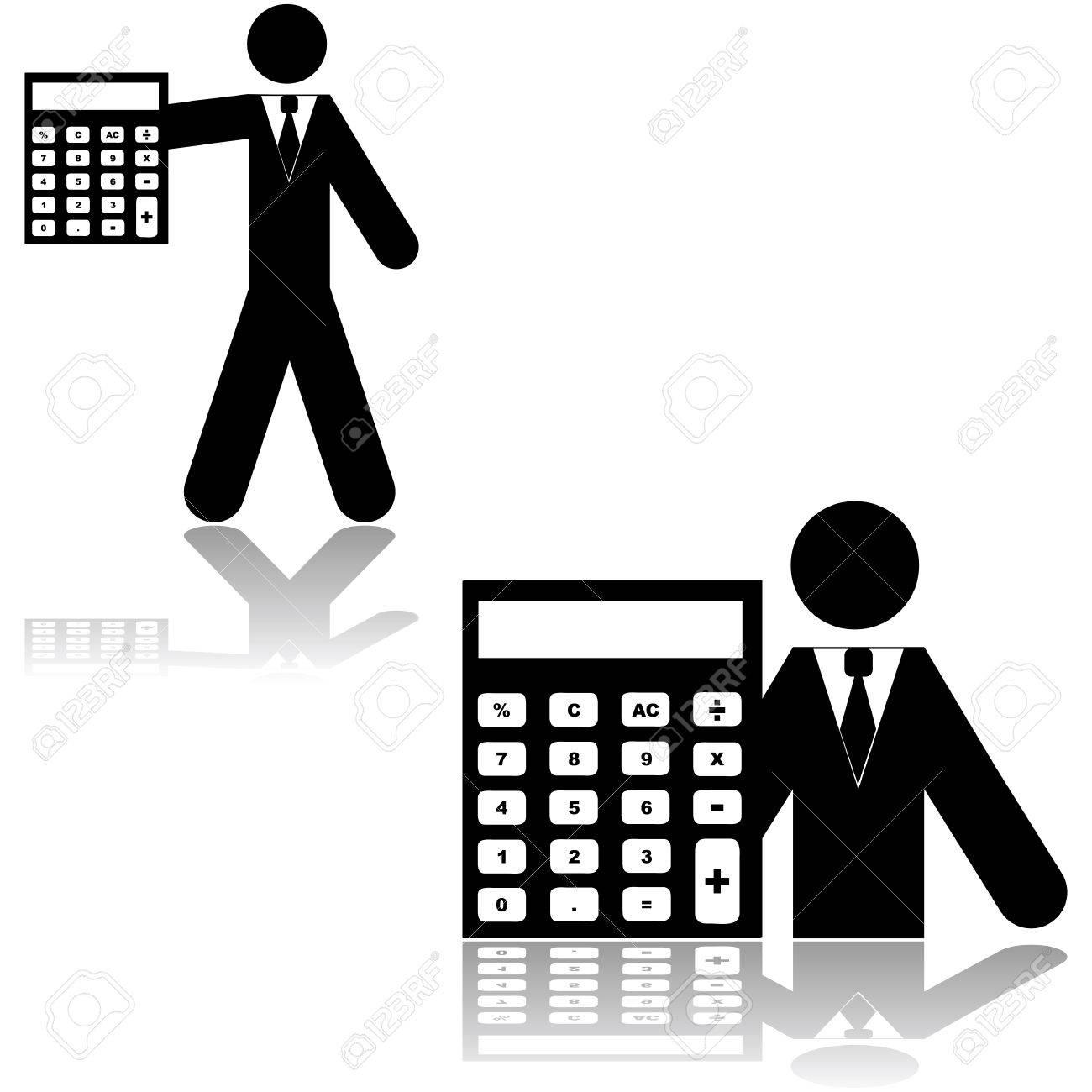 Icon Das Eine Person Neben Einen Taschenrechner Als Symbol Für