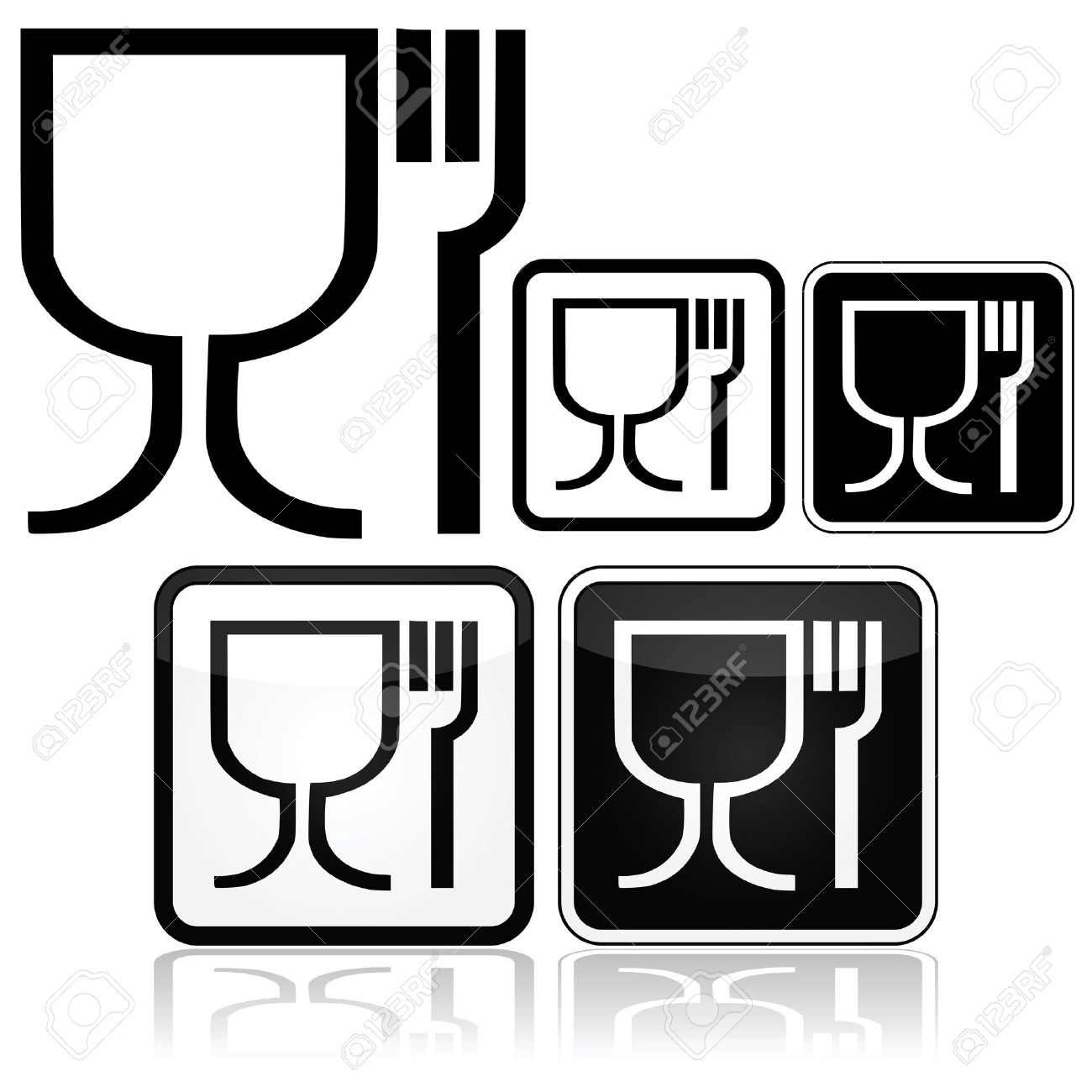 Icon Set Showing Different Design Styles For The Food Safe Symbol