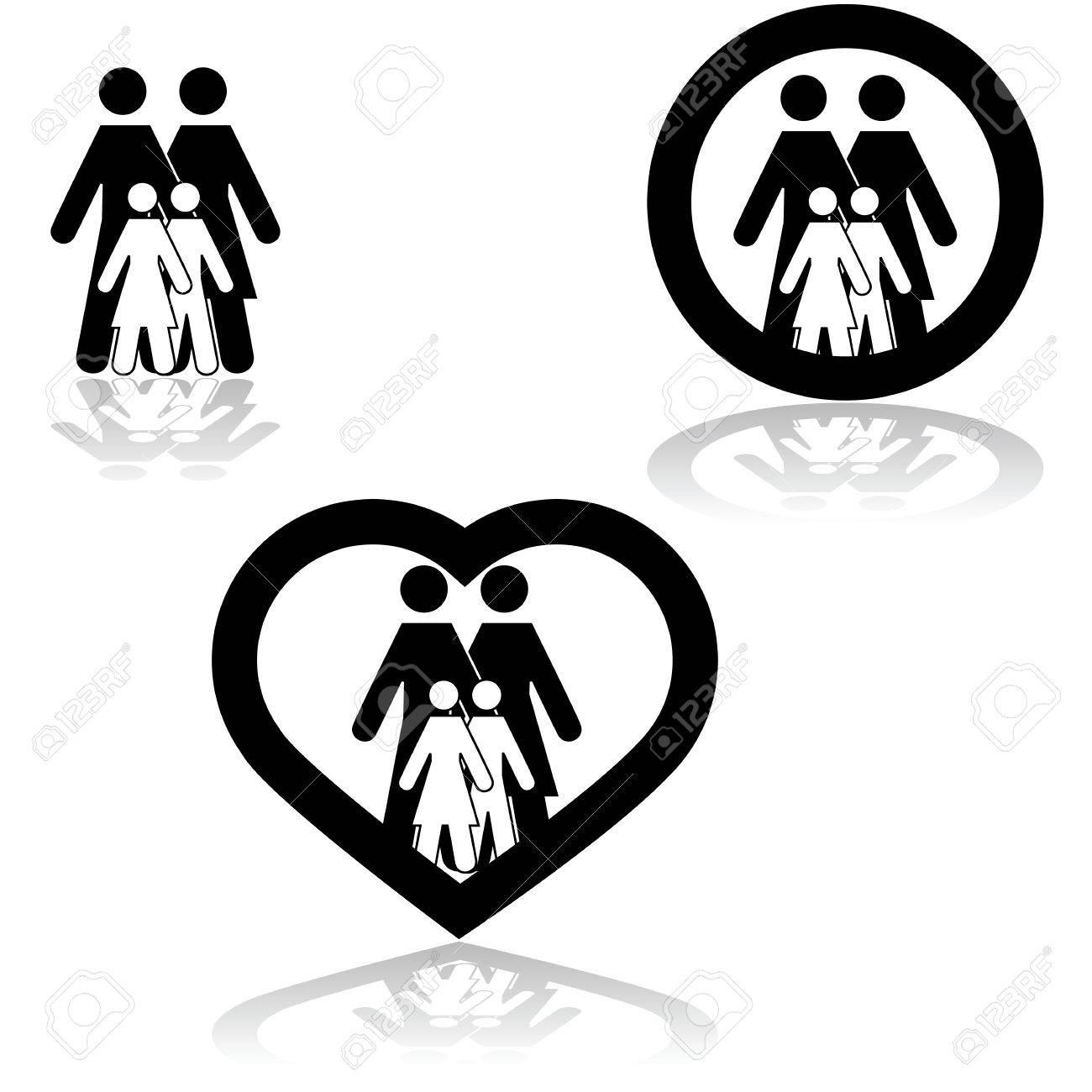 Icono De Conjunto Que Muestra Una Familia Unida Combina Con