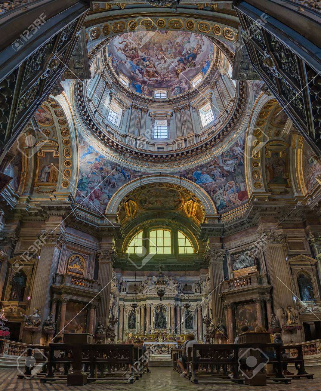 A Vertical Panorama Of The Artistic Interiors Of The Naples Cathedral.  Stock Photo   109448408