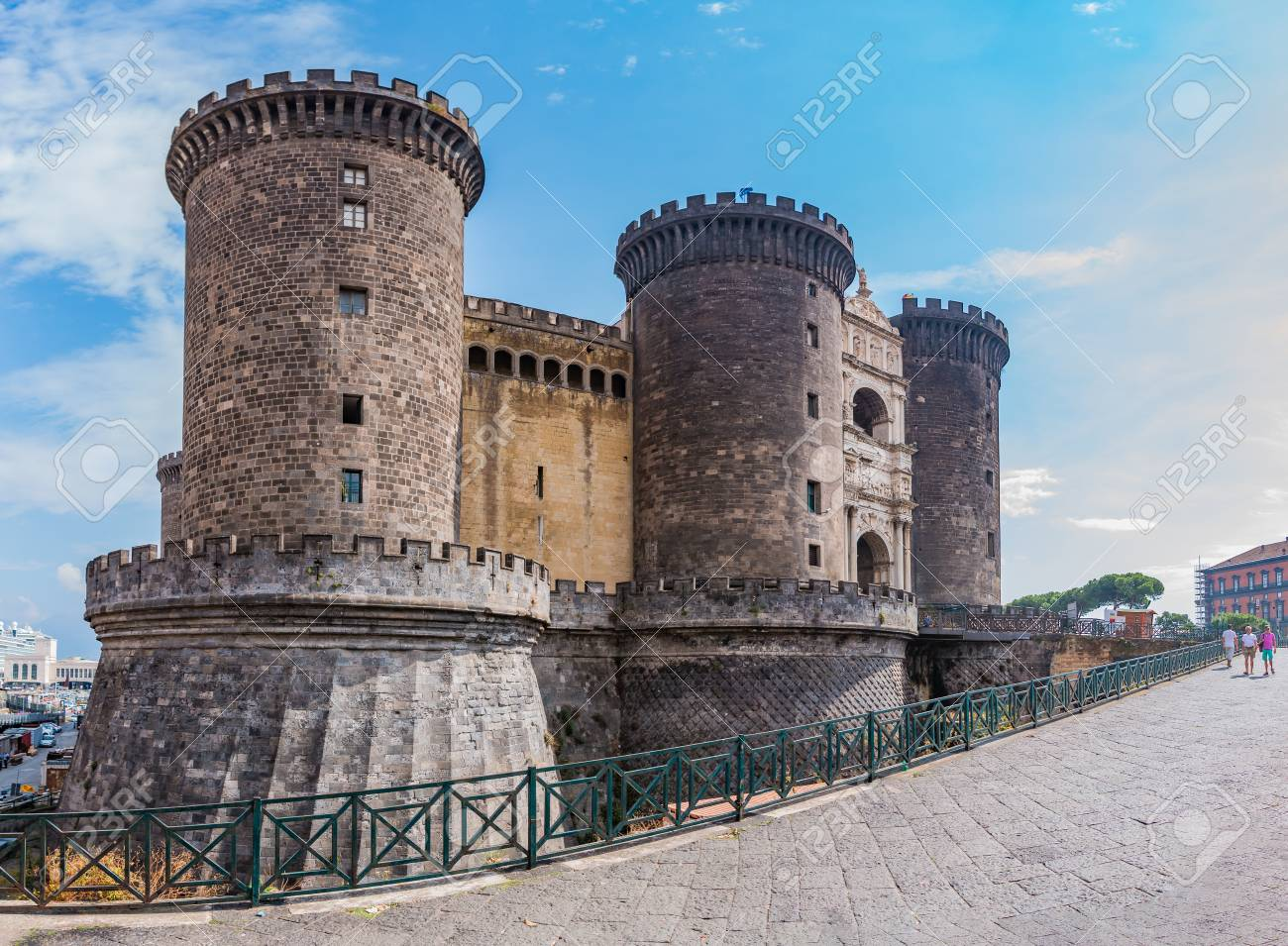 A panorama of Castel Nuovo taen from up close (Naples). - 109448434