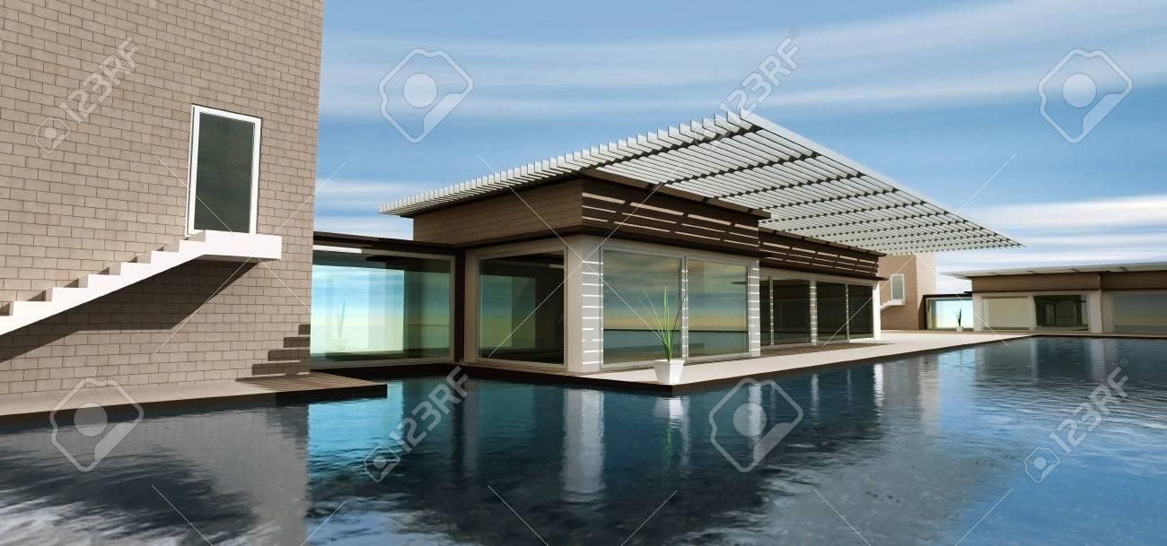 3d, das modernes haus mit pool lizenzfreie fotos, bilder und stock, Garten und erstellen
