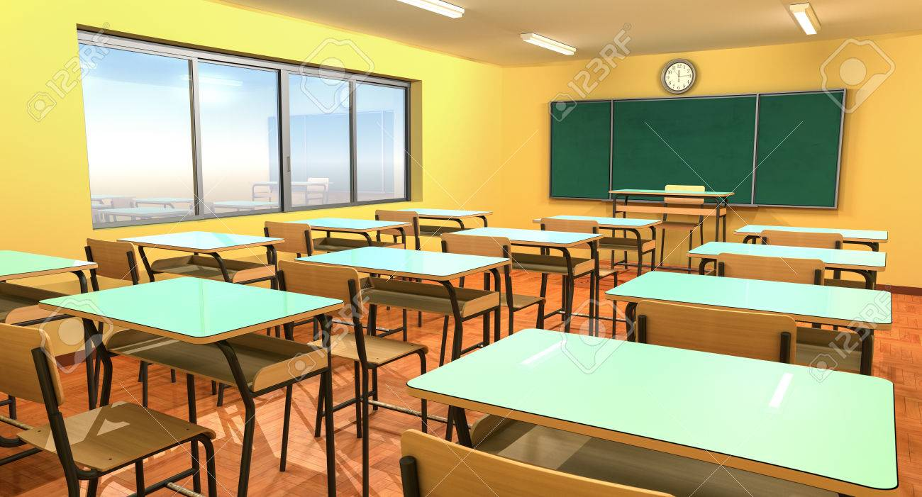 Empty classroom with chalkboard, chairs and school desk.