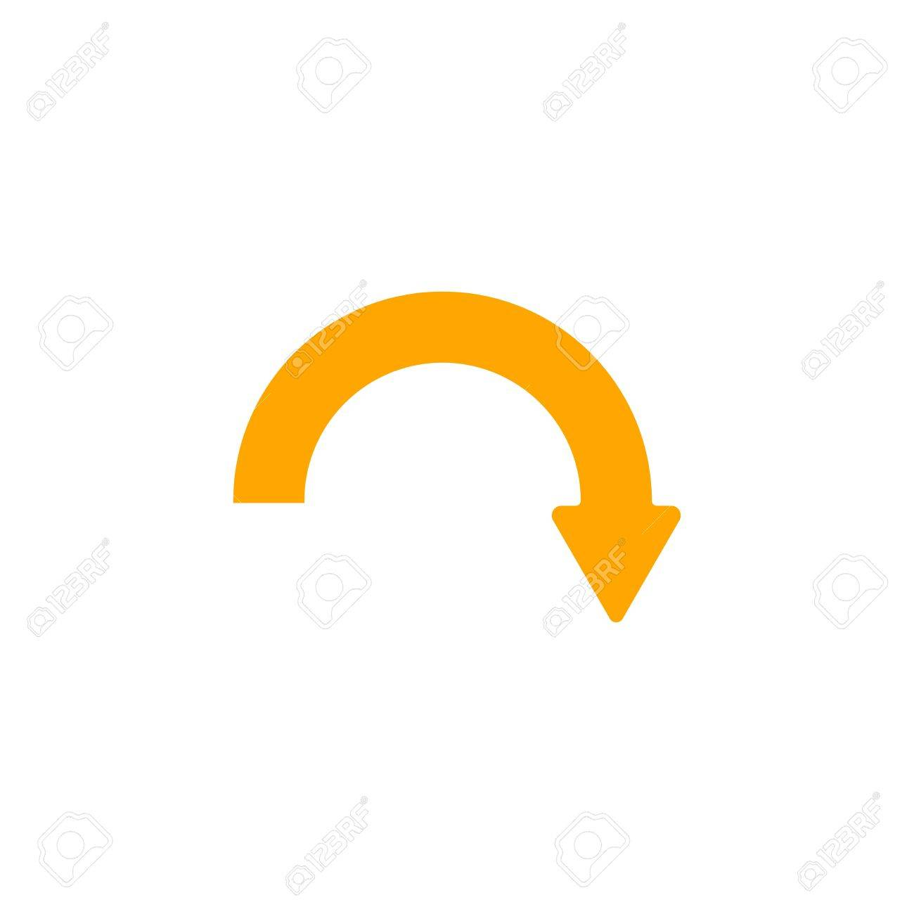 Downwards Curved Arrow With Arrowhead On The Right Stock Photo