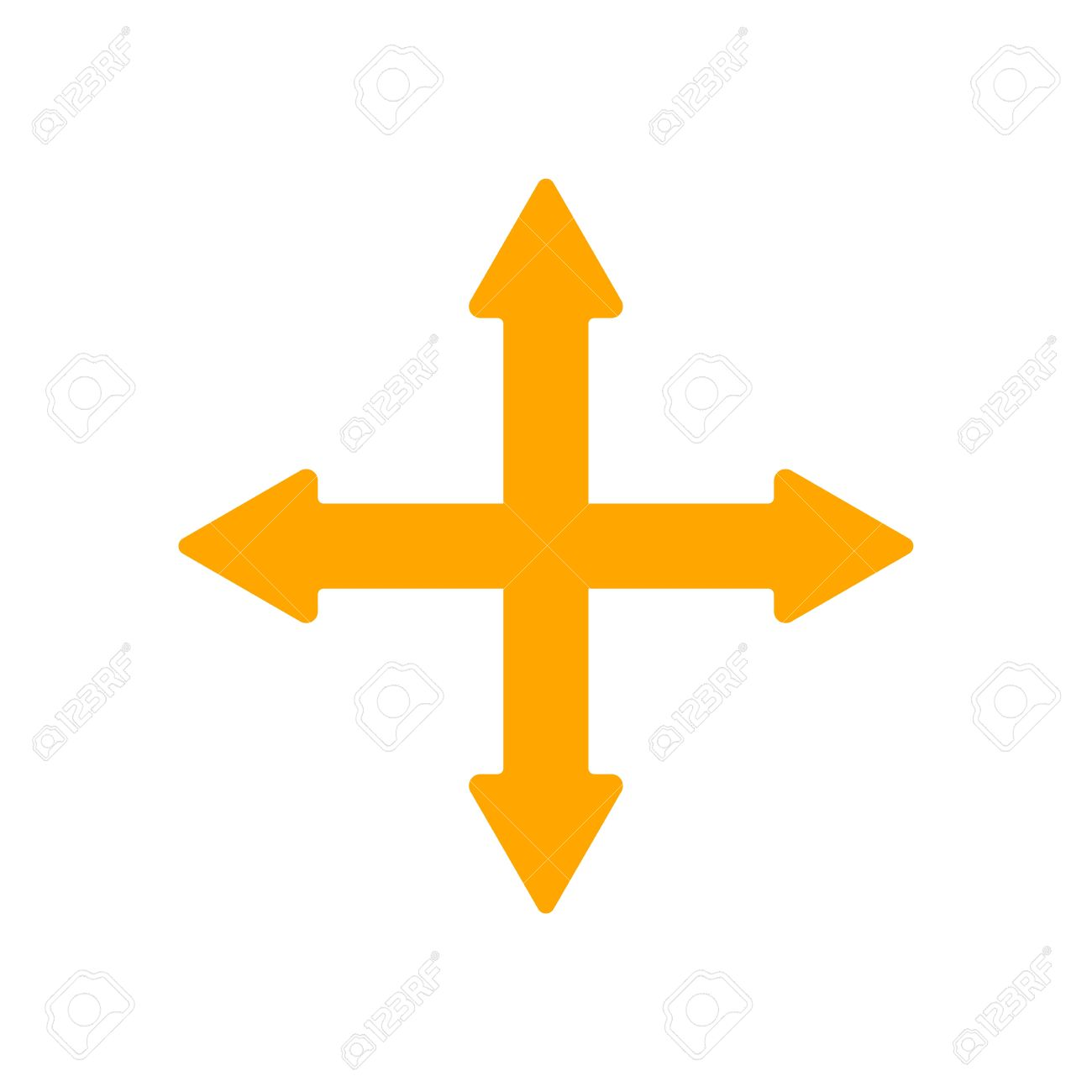 Arrow Pointing East 4 Crossed Arrows Pointing