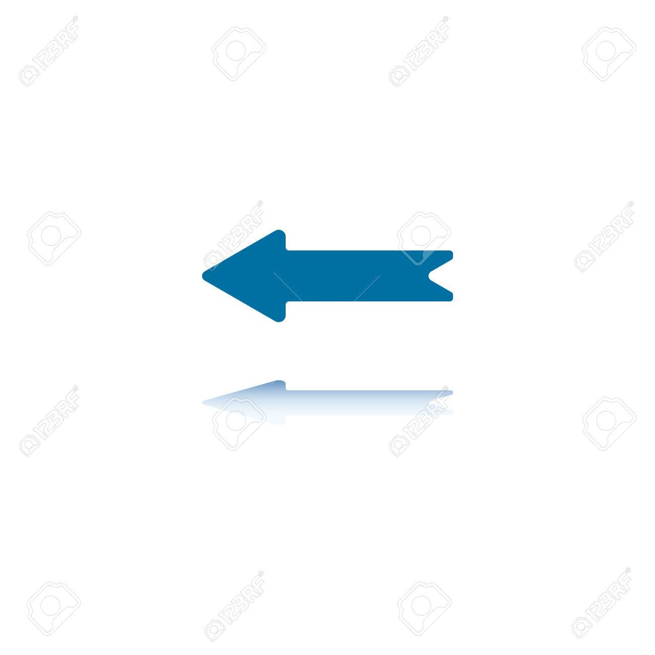 Horizontal Arrow Pointing Left With Reflection on Bottom Plane Stock Vector - 3455913