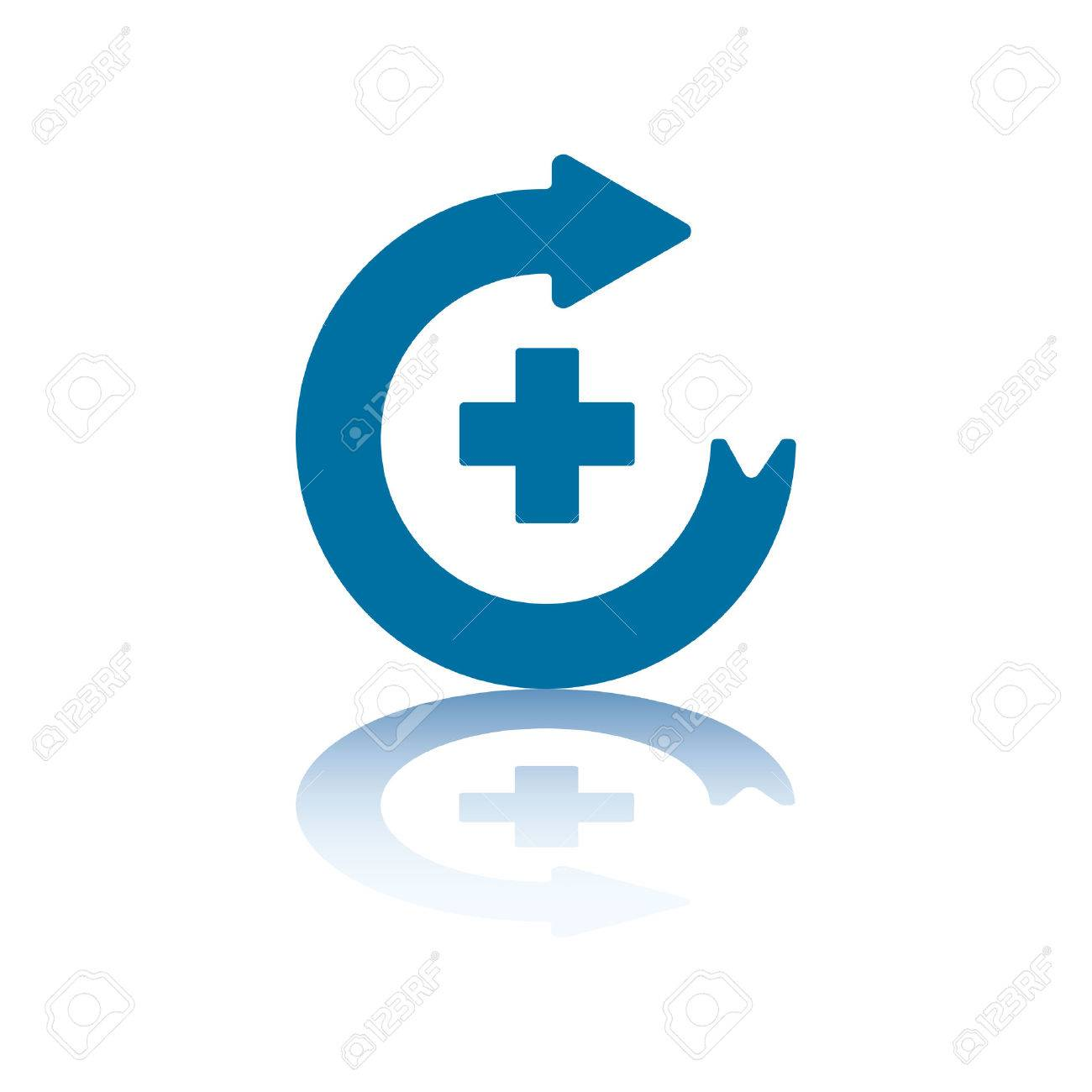 Circular Arrow Pointing Right With Plus Sign in its Center Stock Vector - 3455918