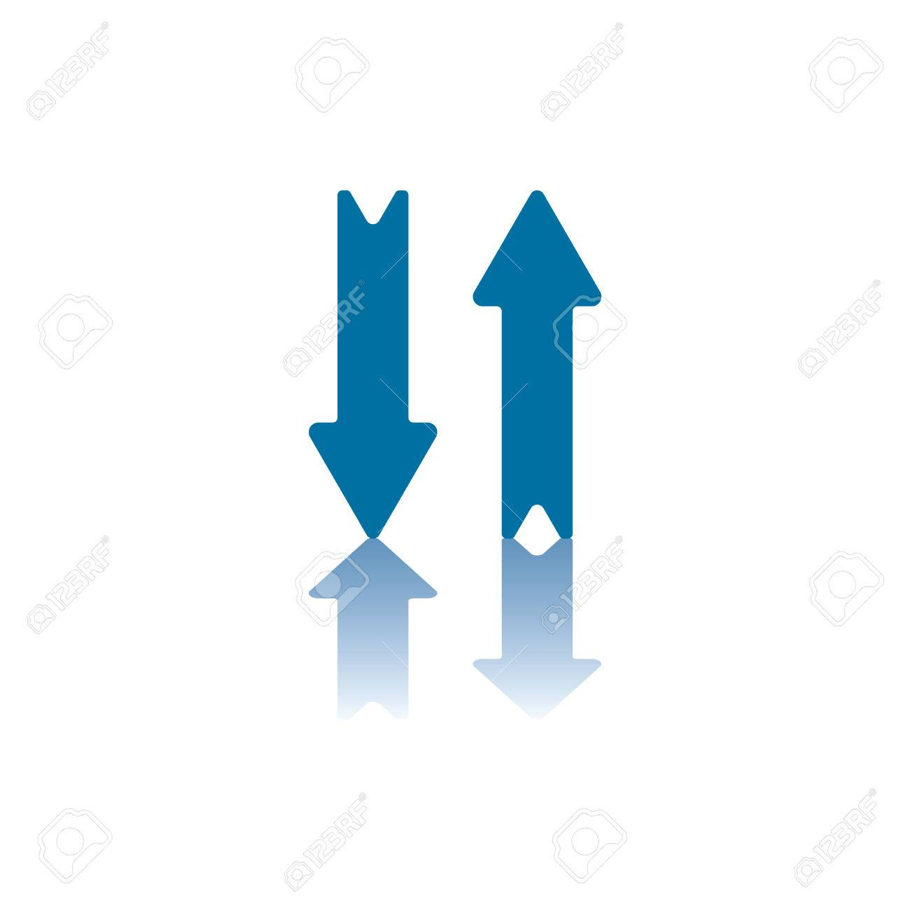 Two Parallel Vertical Arrows Right One Pointing Up Left One