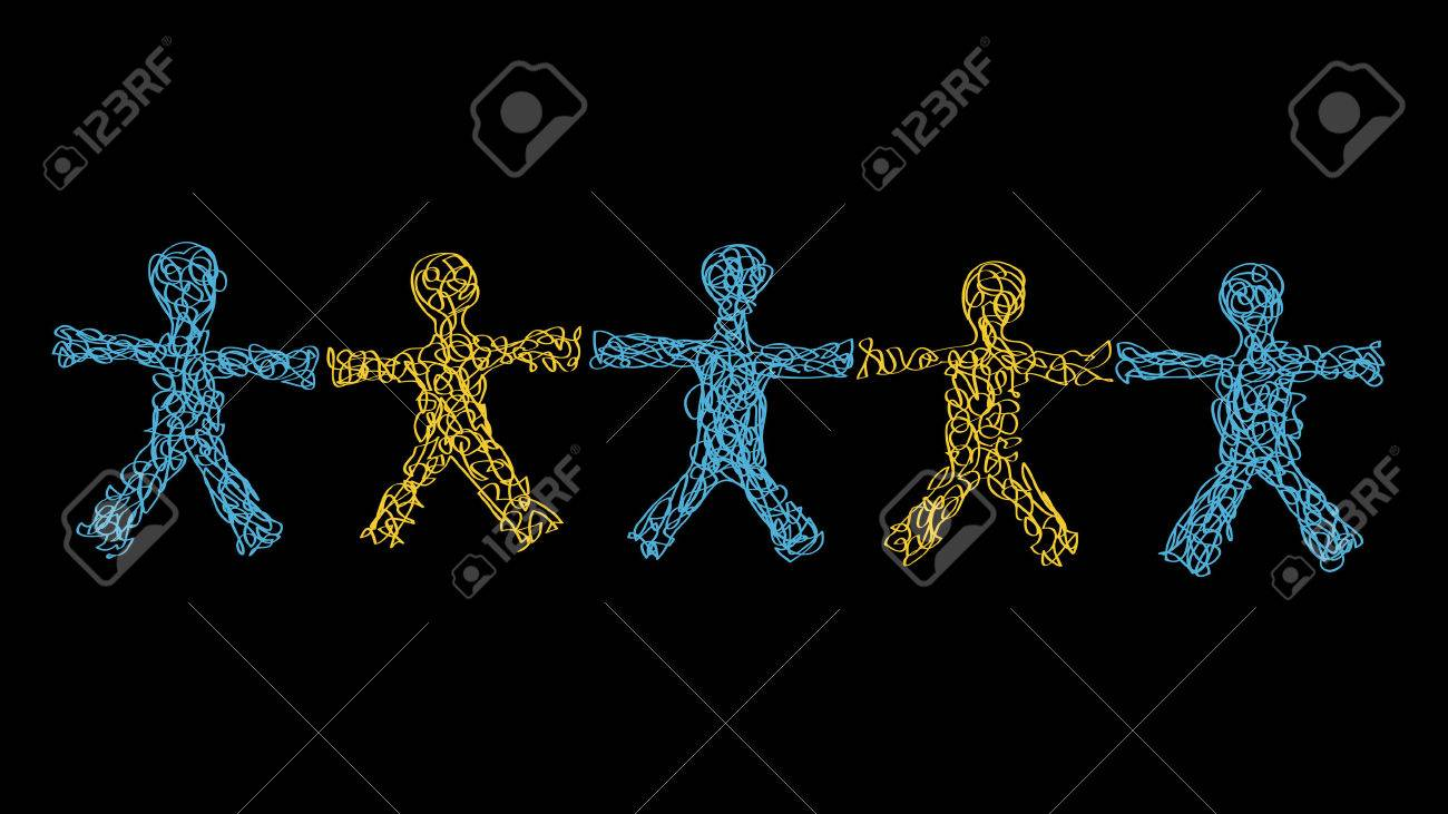 Freehand Hand Drawn Silhouettes of Five People With Open Arms Holding Hands Stock Vector - 3547399