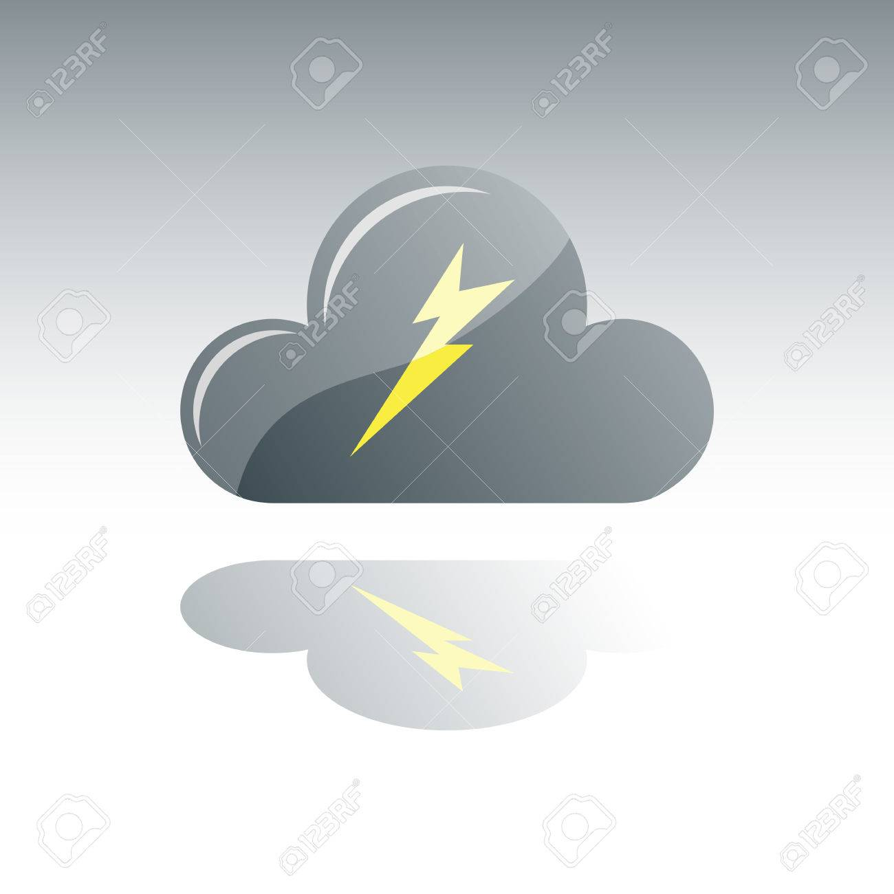 Dark Gray Cloud With Lightning and Reflection Stock Vector - 4388707