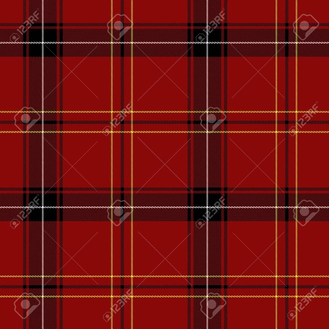Red Tartan Seamless Pattern (red, black, white and yellow) - 5801207