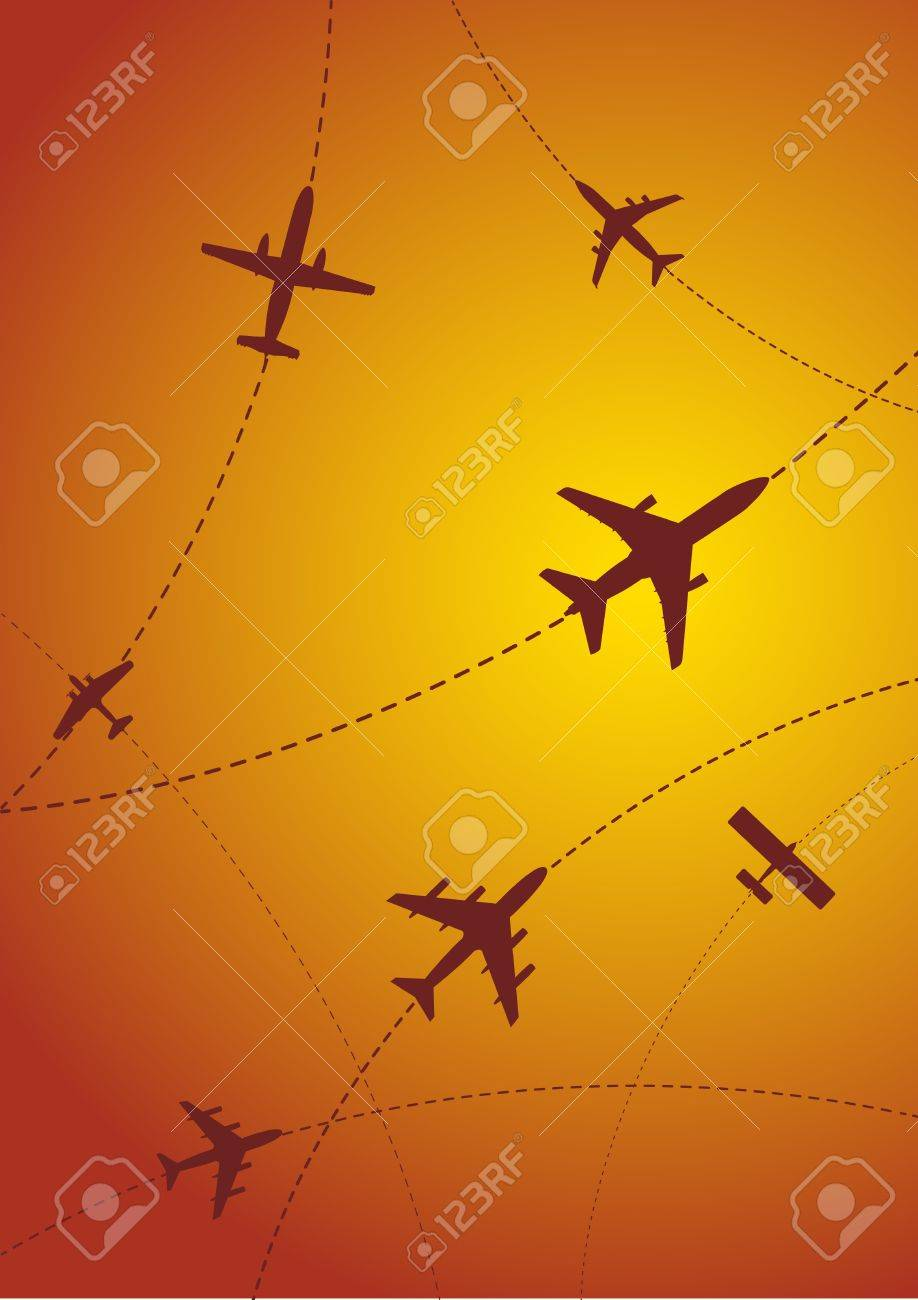 Vector Illustration of Airplane Routes at Sunset Stock Vector - 9933376