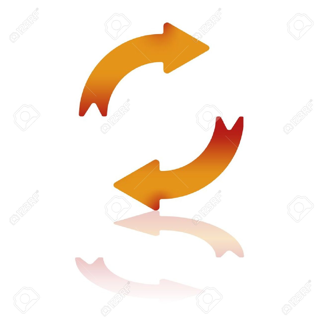 Two Gradient Arrows Depicting Clockwise Motion With Reflection Stock Vector - 10598790