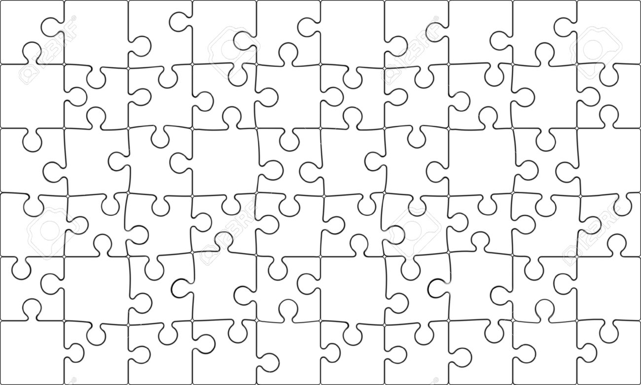 Background Vector Illustration Of Blank 60 Piece Jigsaw Puzzle Each Is An Editable Blend Stock