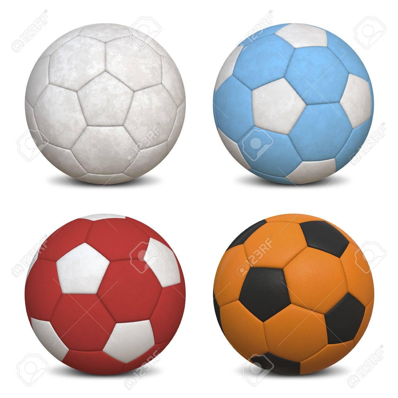 Four Soccer Balls - Hyper Realistic 3D Illustrations Stock Photo - 13227001
