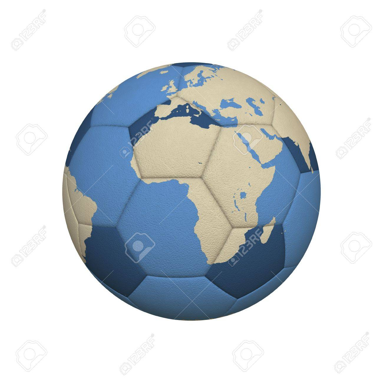 World map on a soccer ball centered on african continent stock photo stock photo world map on a soccer ball centered on african continent gumiabroncs Images